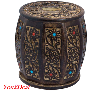 Wooden Handicraft Barrel Shape Antique Style Money Bank Gift Item LargeWHMB00009