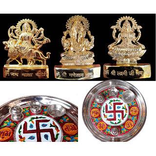 COMBO of Gold plated Idols + Pooja Thali
