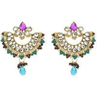 Kriaa Kundan Pearl Drop Blue Earrings