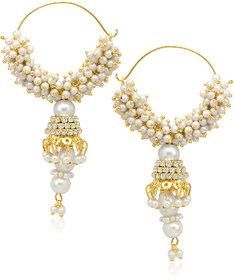 Meenaz Pretty Pearl Jhumki Gold Plated Cz Earings T146