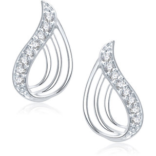 Meenaz Glittery Rhodium Plated Cz Earring T150