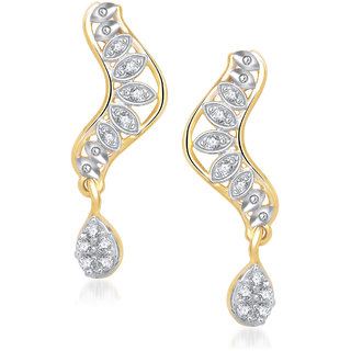 Meenaz Dealy Wear Fashion Studs Cz Gold & Rhodium Plated Earring T190