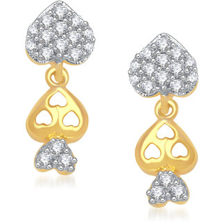 Meenaz Triple Heart Stud Cz Gold & Rhodium Plated Earring T191