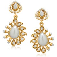 Meenaz Heart Type White Cz Gold & Rhodium Plated Earring T226
