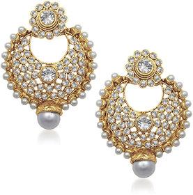 Meenaz Royal Pearl Jhumki Gold Plated Cz Earings T214