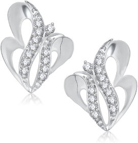 Meenaz Forever Rhodium Plated Cz Earring T245