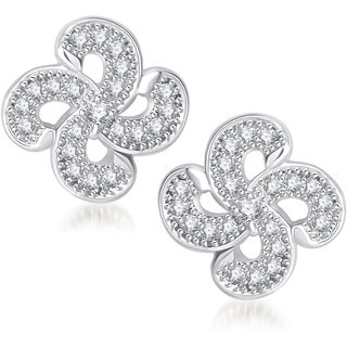 Meenaz Royal Sparkler Cz Rhodium Plated Earring T211