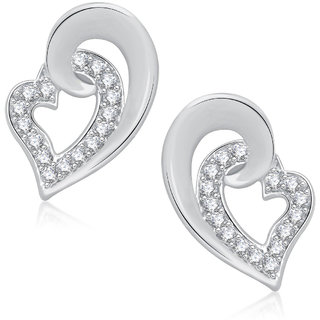 Meenaz Leaf Rhodium Plated Cz Earring T233