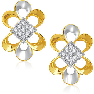 Meenaz Pretty Gold & Rhodium Plated Cz Earring T234