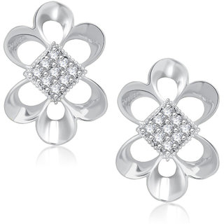 Meenaz Pretty Rhodium Plated Cz Earring T235