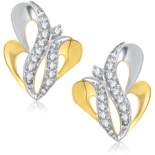 Meenaz Forever Gold & Rhodium Plated Cz Earring T244