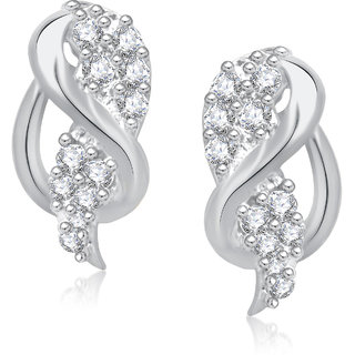 Meenaz Floral Royal Rhodium Plated Cz Earring T251