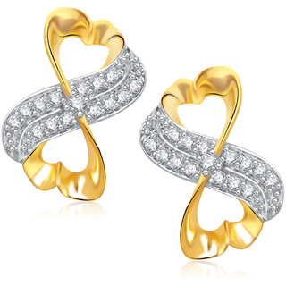Meenaz Designer Gold & Rhodium Plated Cz Earring T273