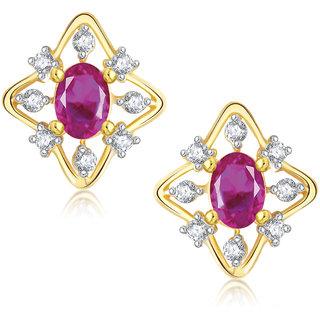 Meenaz Pretty Flower Shape Gold & Rhodium Plated Cz Earring T283