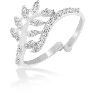 Brass Silver Cz Adjustable Rings By Jewelscart.In (JC01000130)