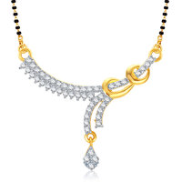 Meenaz Sweetheart Gold And Rhodium Plated Cz Mangalsutra Pendant Msp733