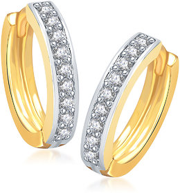 Meenaz Plain Gold & Rhodium Plated Cz Earring B115