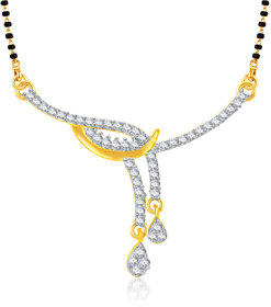 Meenaz Surprise Delight Pendent  Gold And Rhodium Plated Cz Mangalsutra Pendant Msp736