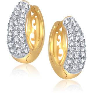 Meenaz Delight Basket Shape Gold & Rhodium Plated Cz Earrings B110