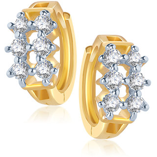 Meenaz Studded Gold & Rhodium Plated Cz Earrings B111
