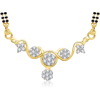 Meenaz Aishwarya Cz Gold & Rhodium Plated Mangalsutra Pendant 771
