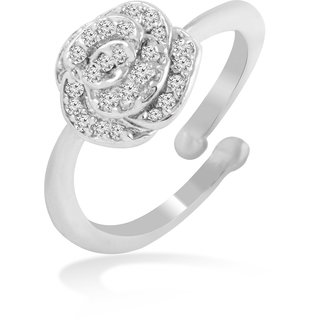 Brass Silver Cz Adjustable Size Ring By Jewelscart.In (JC01000206)