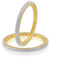 Meenaz Sparkling Floral Design Cz American Diamond Bangles Ba101