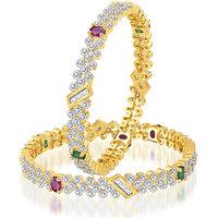 Meenaz Exquisite Design Ruby & Emerald CzAmerican Diamond Bangles Ba103