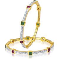 Meenaz Stunning Design Ruby & Emerald Cz American Diamond Bangles Ba108