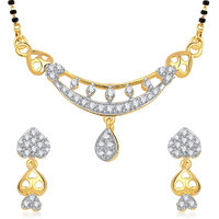 Meenaz Graceful Heart Cz Gold And Rhodium Plated Mangalsutra Set