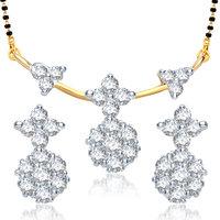 Meenaz Beauty Creative Design Cz Gold And Rhodium Plated Mangalsutra Set