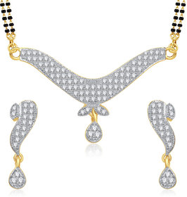 Meenaz Pretty Meena Cz Gold And Rhodium Plated Mangalsutra Set