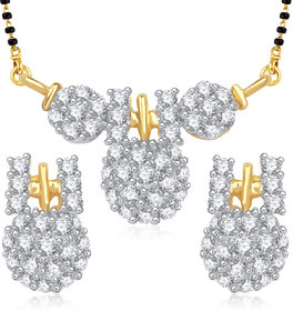 Meenaz Exclusive Traditional Wati Cz Gold And Rhodium Plated Mangalsutra Set