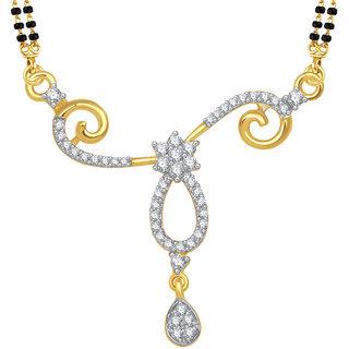 Meenaz Fabulous Cz Gold & Rhodium Plated Mangalsutra Pendant 786