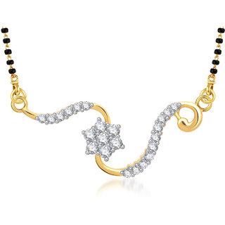 Meenaz Cute Crystal Cz Gold & Rhodium Plated Mangalsutra Pendant 797