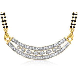 Meenaz Chandra Shape Cz Gold & Rhodium Plated Mangalsutra Pendant 805