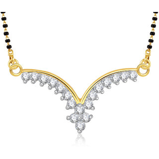 Meenaz Traditional Flower Cz Gold & Rhodium Plated Mangalsutra Pendant 812