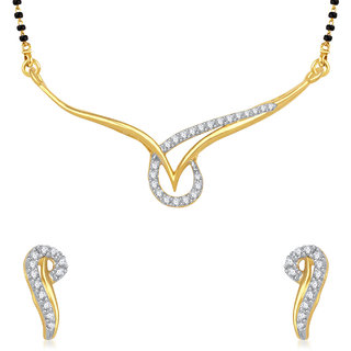 Meenaz Touchstone Cz Goldand Rhodium Plated Mangalsutra Set