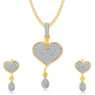 Meenaz Forever Lovable Gold & Rhodium Plated Cz Pendant Set Pt128