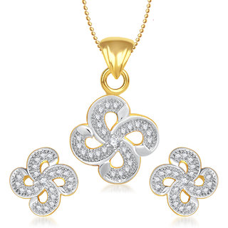 Meenaz Shinning Flower Rhodium Plated Cz Pendant Set Pt132