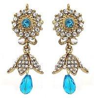 Kriaa Gold Plated  Blue Austrian Diamond Earrings