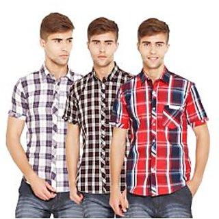 Factorydirect Mens Multicolor Regular Fit Casual Shirt (Set Of 3)
