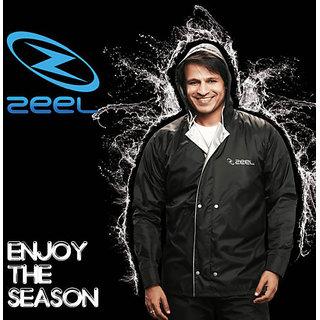 Zeel Casual Plain Black Rain Suit Gents (Coat/ jacket and pant) Size- XXL