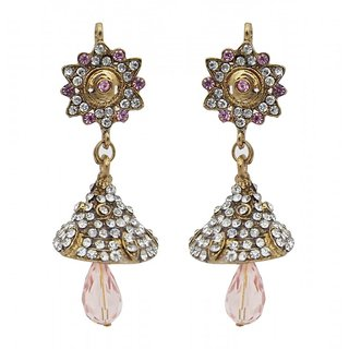 Kriaa Gold Palted Pink Austrian Stone Jhumki Earrings
