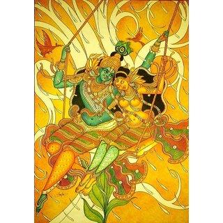 Kerala mural painting radha madhavam buy kerala mural for Average cost of mural painting