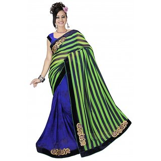 star fashion pure georgette half-half fancy sarees