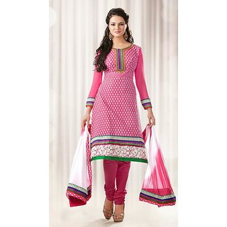 Ladies Beautiful Semi-Stitched Suit Set Pink