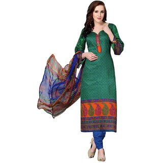 Bay & Blue Green Satin Cotton Salwar With Plazo, Nazmin Chiffon Dupatta
