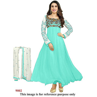 Ecoco Fashions Turquoise  Anarkali suit
