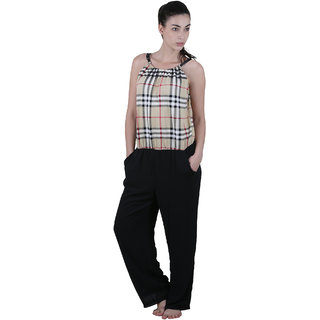 Vixenwrap Black Checkered Chiffon Jumpsuit